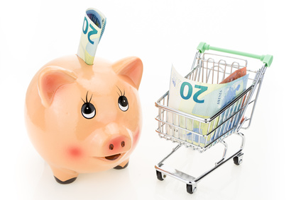 Piggy bank and shopping cart with Euros, on white background